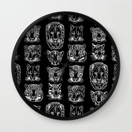 Kickass Kitties - white on black Wall Clock