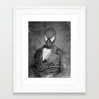 superheros Framed Art Prints featuring Spidey Senior by Zach Terrell