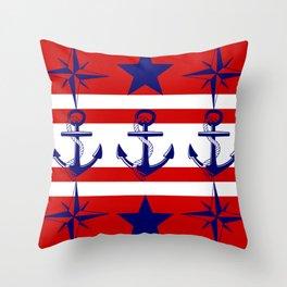 Nautical Red Throw Pillow