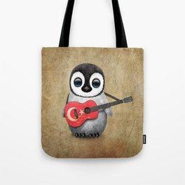 Baby Penguin Playing Turkish Flag Guitar Tote Bag