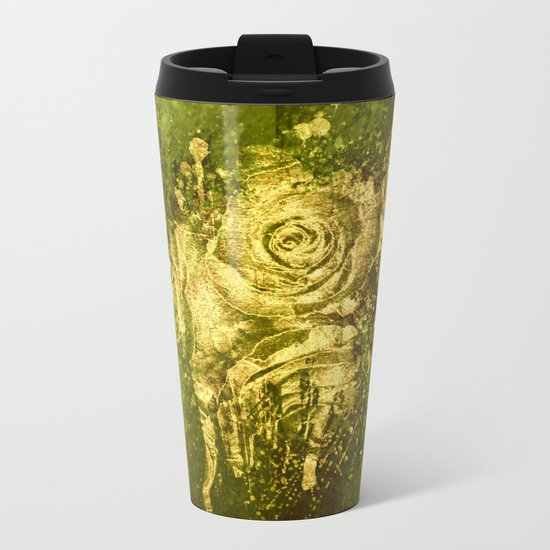 golden rose on green Metal Travel Mug