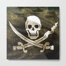 Pirate Skull in Cross Swords Metal Print