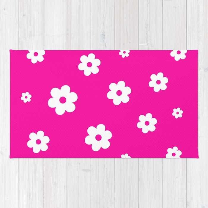 White Flowers On Pink Background Rug By Pippi_dust