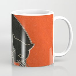 Vintage Art Deco Japanese Black Cat Coffee Mug