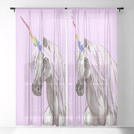 Pink Unicorn Sheer Curtain