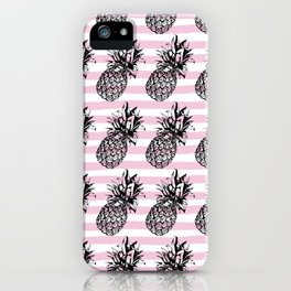 Pink Striped Pineapple Pattern iPhone Case