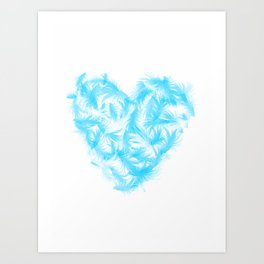 Feathers heart Art Print