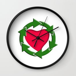Recycle In Heart Wall Clock