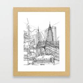 New York! B&W Framed Art Print