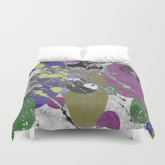 Gather Together - Abstract, pastel coloured, textured, artwork Duvet Cover