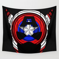 super hero Wall Tapestries featuring Freedom Super Hero by ED Art Studio