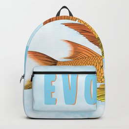 Evolve fish with wings flying through the clouds  Backpack