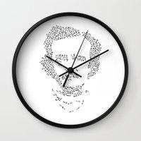 edgar allen poe Wall Clocks featuring Edgar Allen Poe Word Cloud Typography by lindz