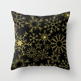 Gold and black snowflakes Throw Pillow