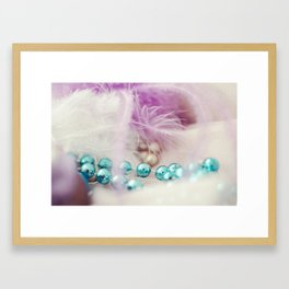 Pearls and feather Framed Art Print