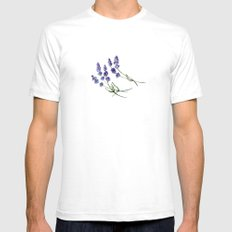 Lavender flowers SMALL Mens Fitted Tee White