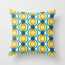 Retro Circle Pattern Mid Century Modern Turquoise Blue and Marigold Throw Pillow