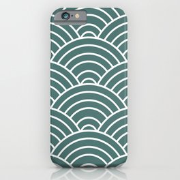 Teal Japanese Seigaiha Wave iPhone Case