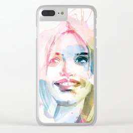 Always smile! Hand-painted portrait of a woman in watercolor. Clear iPhone Case
