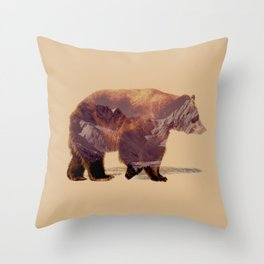 Glacier Grizzly Throw Pillow