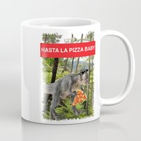 trex Mugs featuring PIZZA TREX!! by anthonykun
