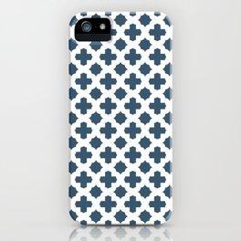Dusky Blue Stars & Crosses Pattern iPhone Case