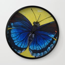 Blue Butterfly Wall Clock