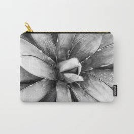 Cactus Decor // Black and White Succulent Leaves Desert Square Photograph Carry-All Pouch