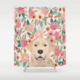 Labrador Retriever yellow lab floral pattern cute florals dog breed pure breed dog lover gifts Shower Curtain