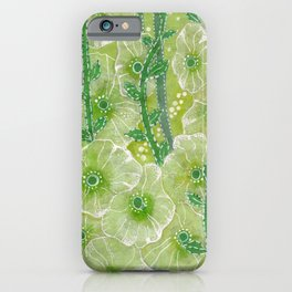 Hollyhock Mallows, Summer Flowers, Floral Collage Chartreuse iPhone Case