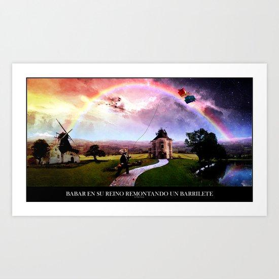 Babar en su reino remontando un barrilete Art Print