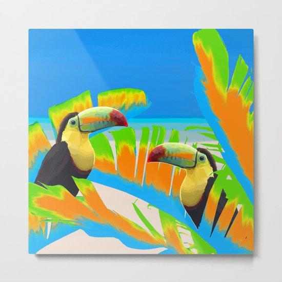 Colorful Toucans Tropical Banana Leaves Pattern Metal Print