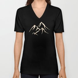 Adventure White Gold Mountains Unisex V-Neck