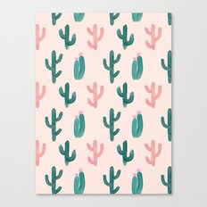 Painted Cactus Pattern on Pink Canvas Print