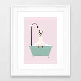 Llama Enjoying Bubble Bath Framed Art Print