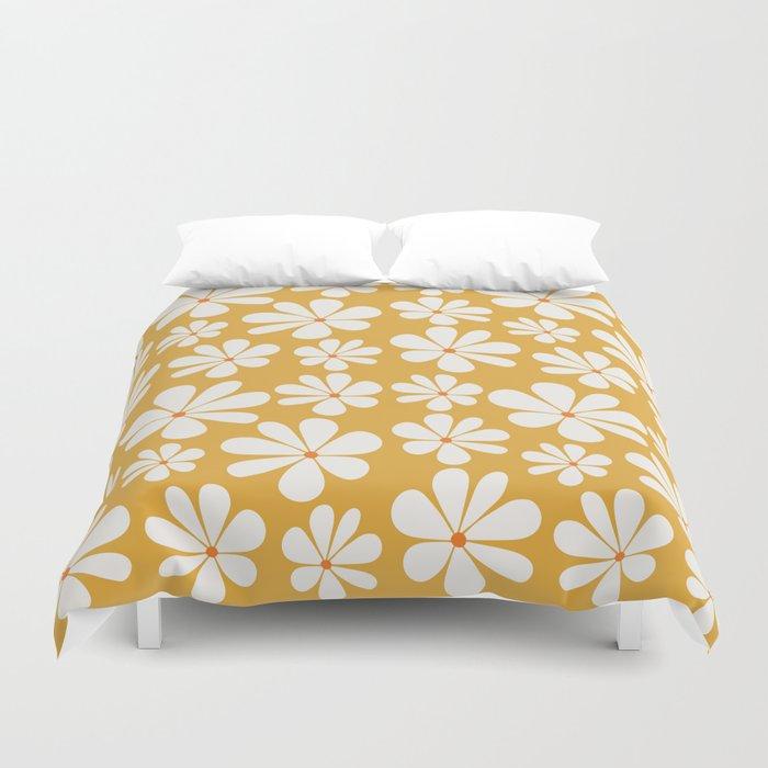 Floral Daisy Pattern - Golden Yellow Duvet Cover