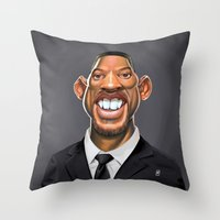 celebrity Throw Pillows featuring Celebrity Sunday ~ Will Smith by rob art | illustration
