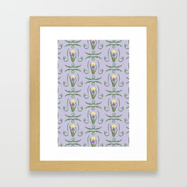 Iris Flowers Illustrated Pattern Purple Green Yellow Summer Garden Framed Art Print