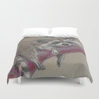 racoon Duvet Covers featuring Racoon sleeping by Pendientera