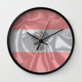 Silk Austrian Flag and Coat of Arms Wall Clock