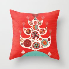 Festive Yule Christmas Tree Throw Pillow