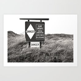 """Surf Unsafe, Strong Undertow"" Beach Access Sign Washington Coast, Pacific Northwest Art Print"