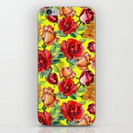 Botanical red orange yellow hand painted roses pattern iPhone Skin