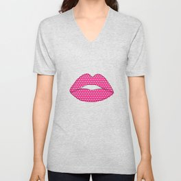 Polka dot lips Unisex V-Neck