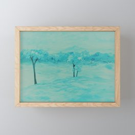 Teal Abstract Landscape Framed Mini Art Print