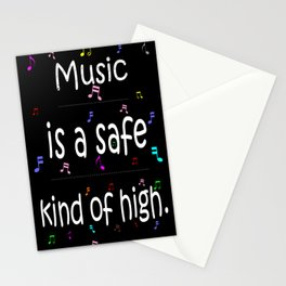 Music is a safe Famous Guitars Inspirational Motivational Quotes Stationery Cards
