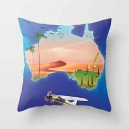 Australia travel poster Throw Pillow