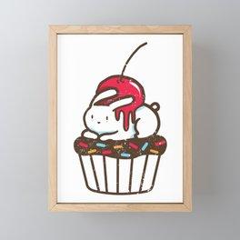 Chubby Bunny on a cupcake Framed Mini Art Print