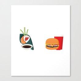 Sushi vs Fastfood Canvas Print