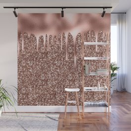 Rose Gold Drip & Sparkle Wall Mural
